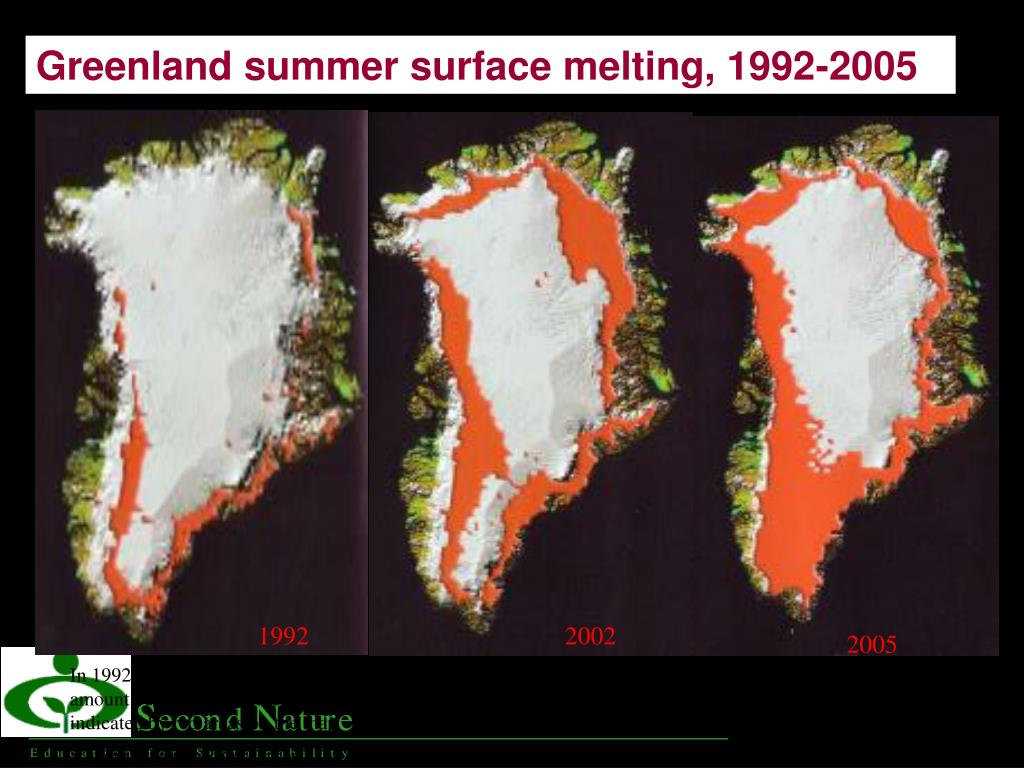 Greenland ice Melting 1992, 2002, and 2005