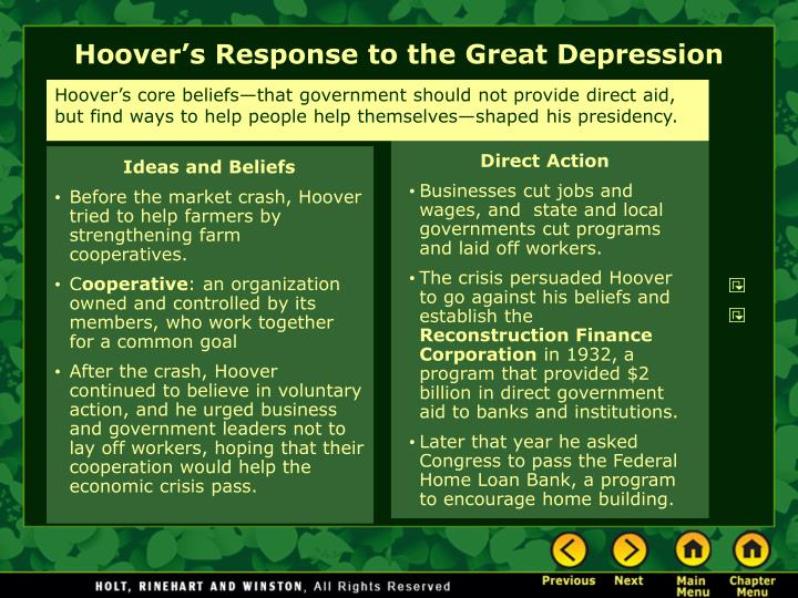 Hoover's core beliefs—that government should not provide direct aid, but find ways to help people help themselves—shaped his presidency.