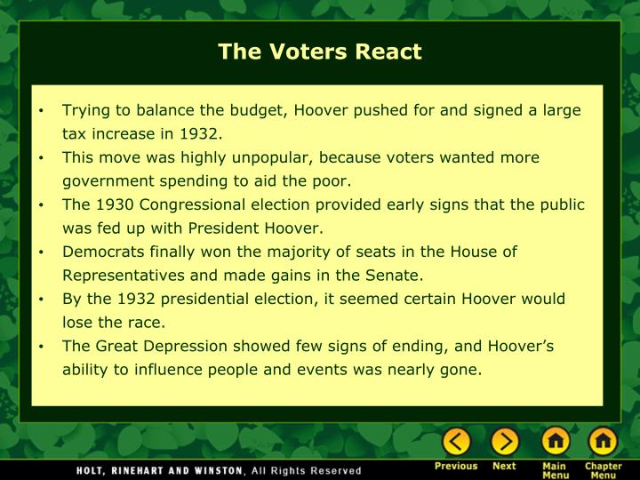 Trying to balance the budget, Hoover pushed for and signed a large tax increase in 1932.