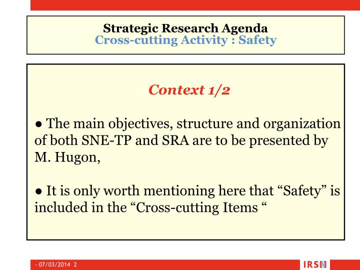 Strategic research agenda cross cutting activity safety