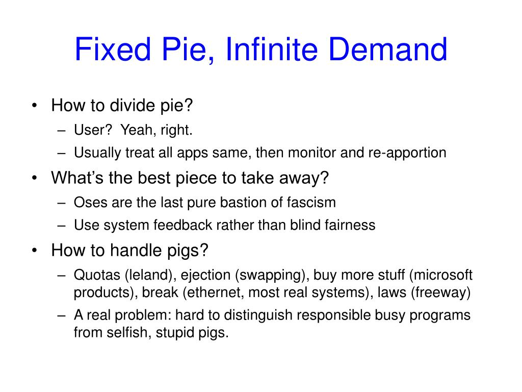 Fixed Pie, Infinite Demand