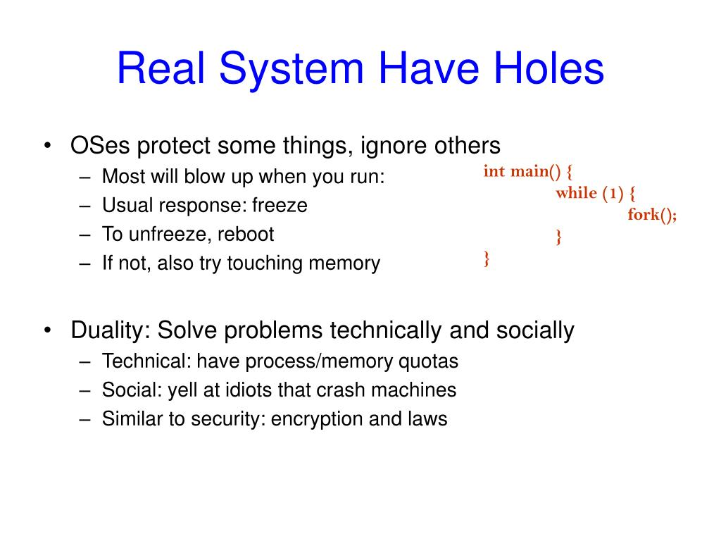 Real System Have Holes