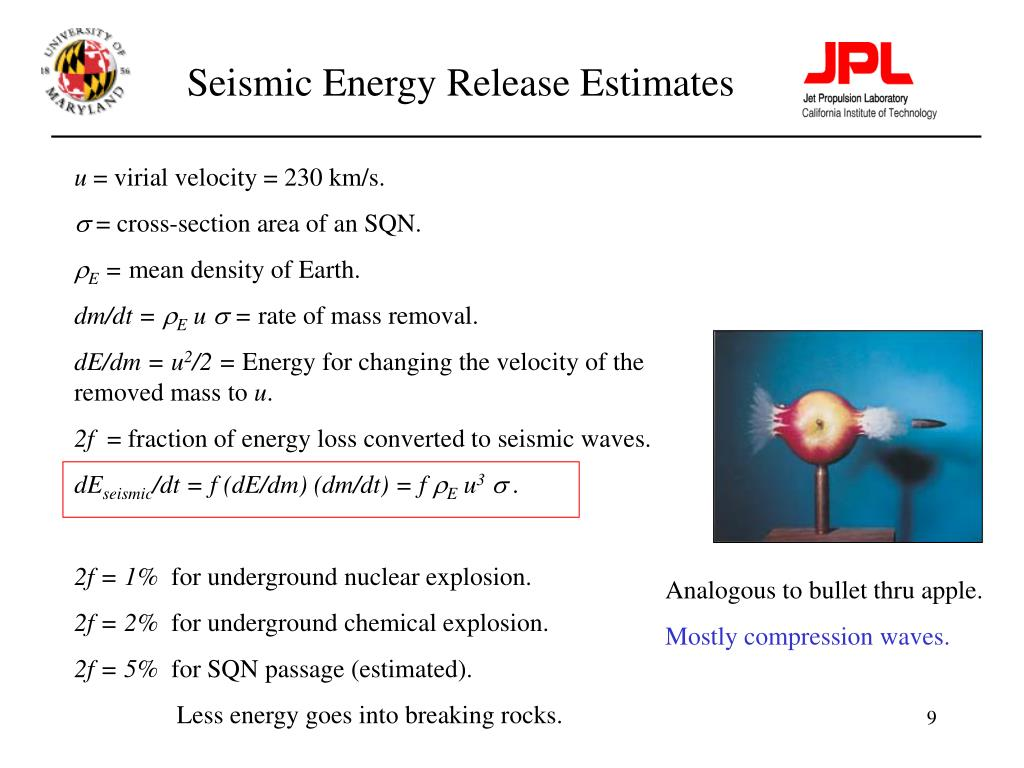 Seismic Energy Release Estimates