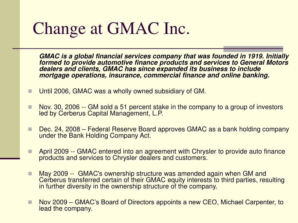Change at GMAC Inc.