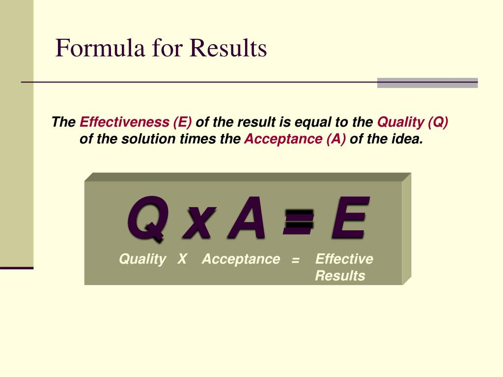 Formula for Results