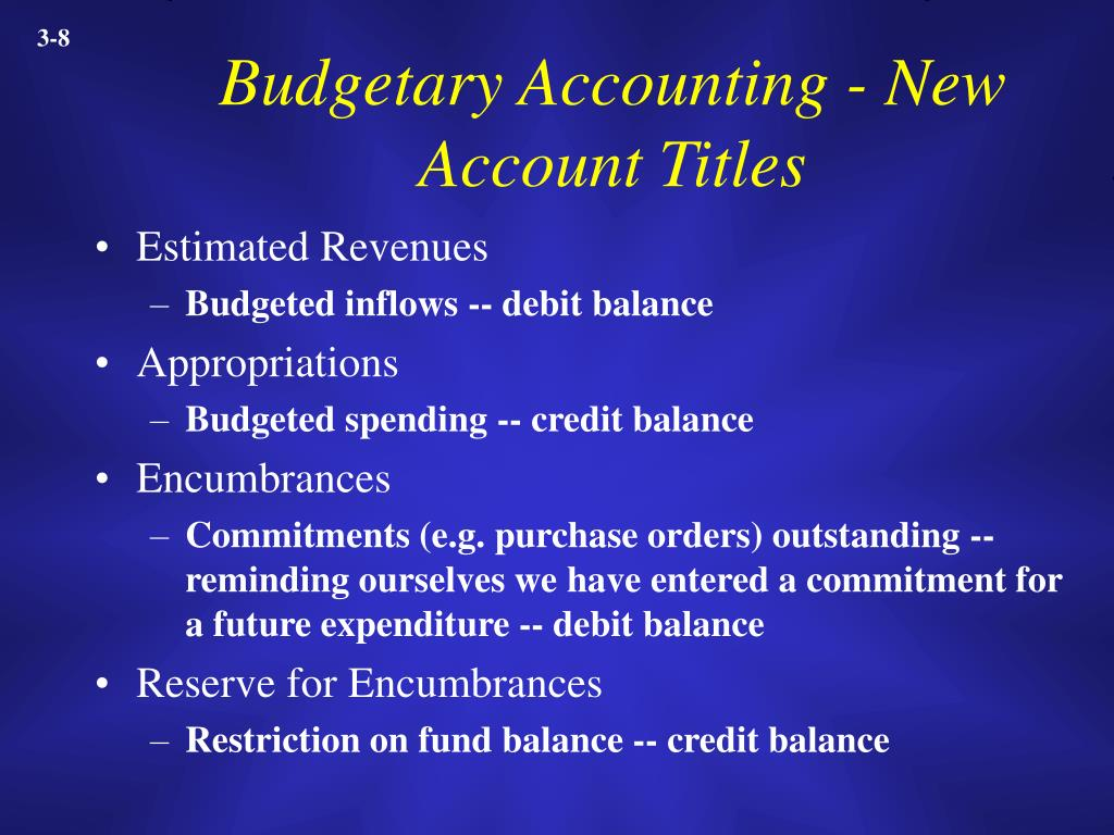 Budgetary Accounting - New Account Titles