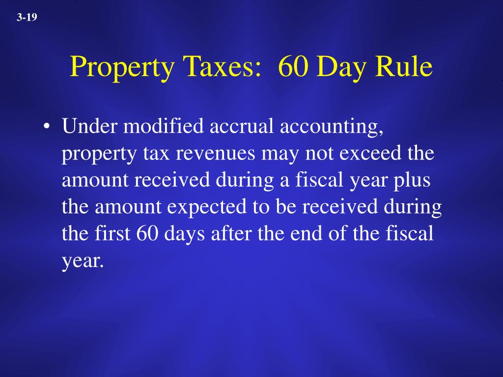 Property Taxes:  60 Day Rule