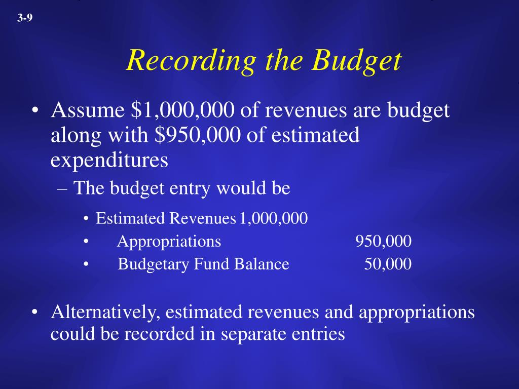 Recording the Budget