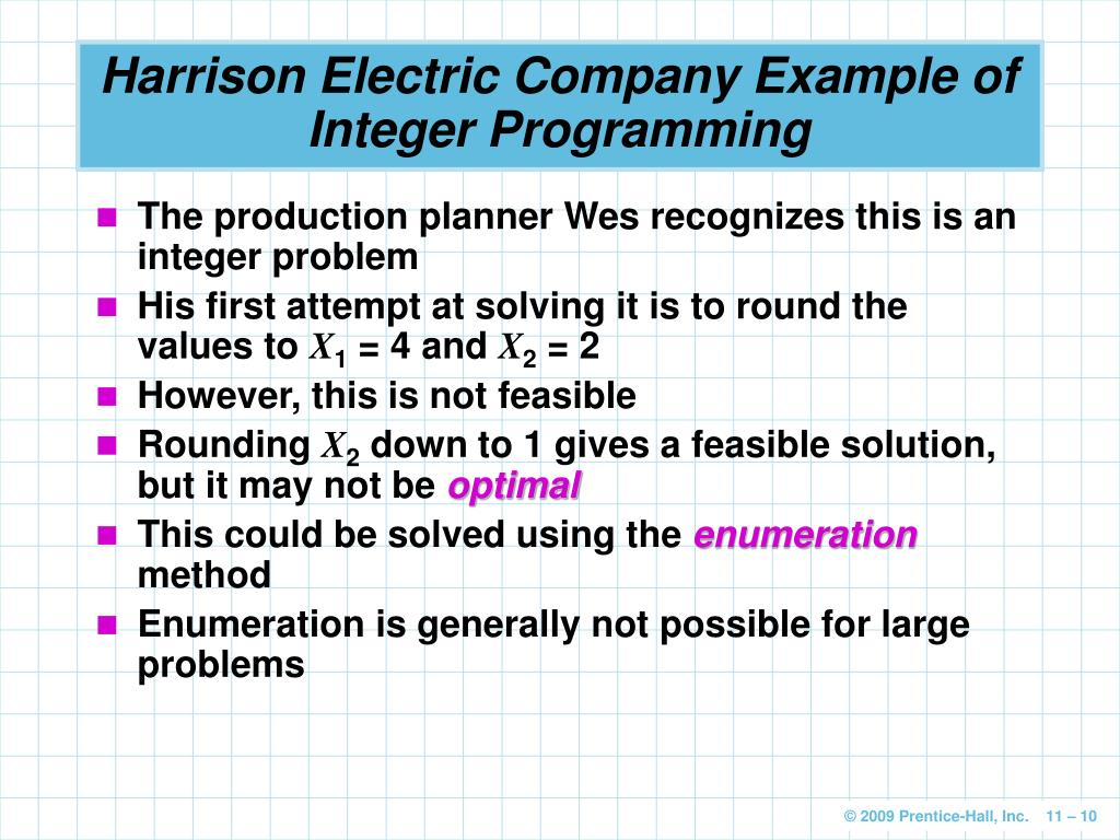 integer programming essay example Linear programming is the analysis of problems in which a linear function of a  for example, many grades of raw  an integer programming problem exists.