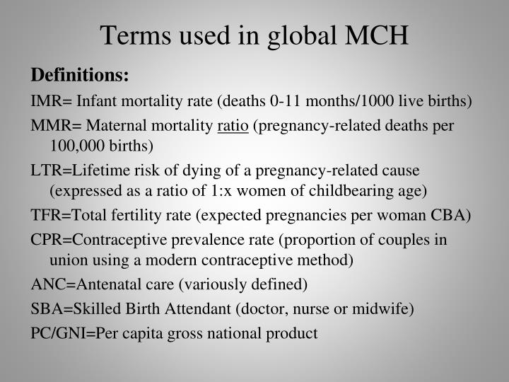 Terms used in global mch