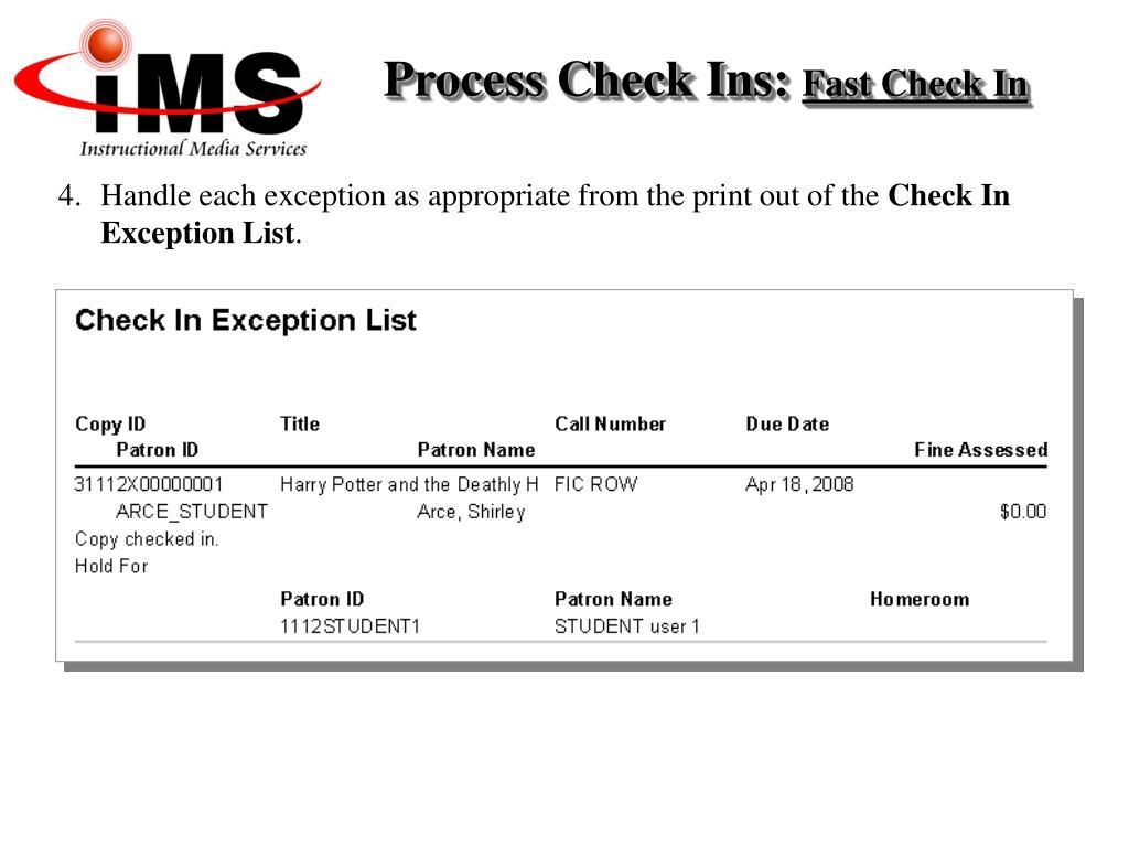Process Check Ins:
