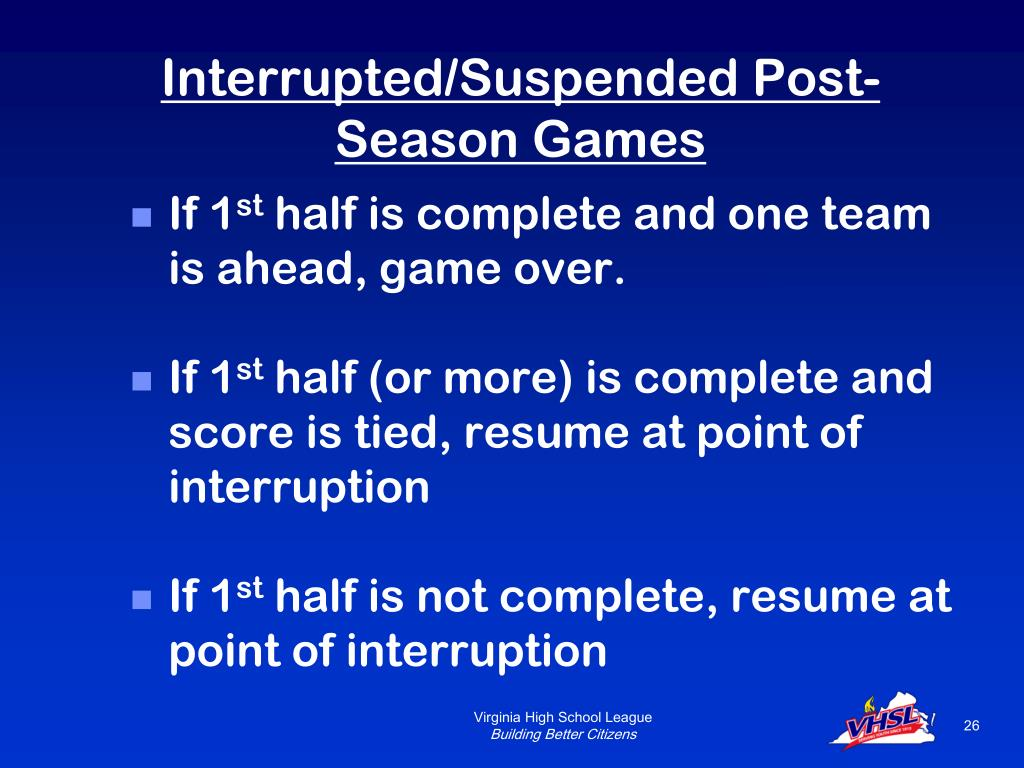 Interrupted/Suspended Post-Season Games