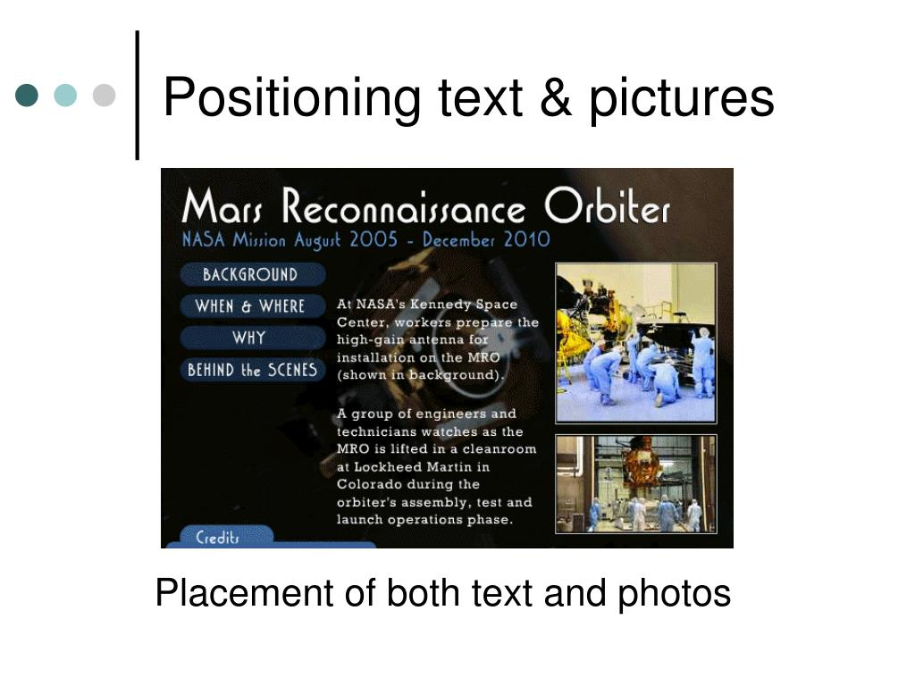 Positioning text & pictures