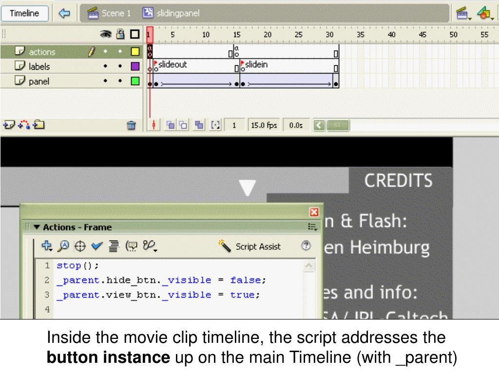 Inside the movie clip timeline, the script addresses the