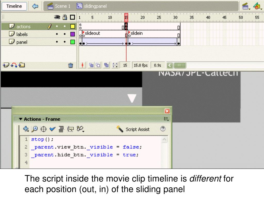 The script inside the movie clip timeline is