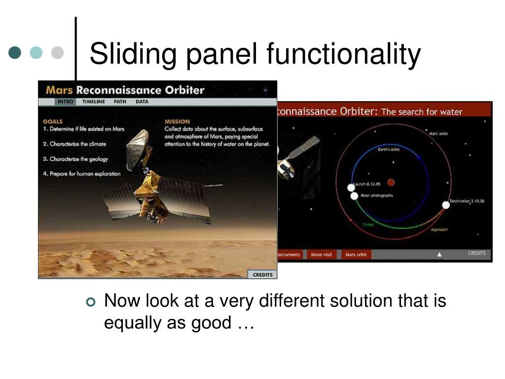 Sliding panel functionality