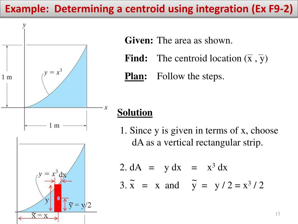 Example:  Determining a centroid using integration (Ex F9-2)