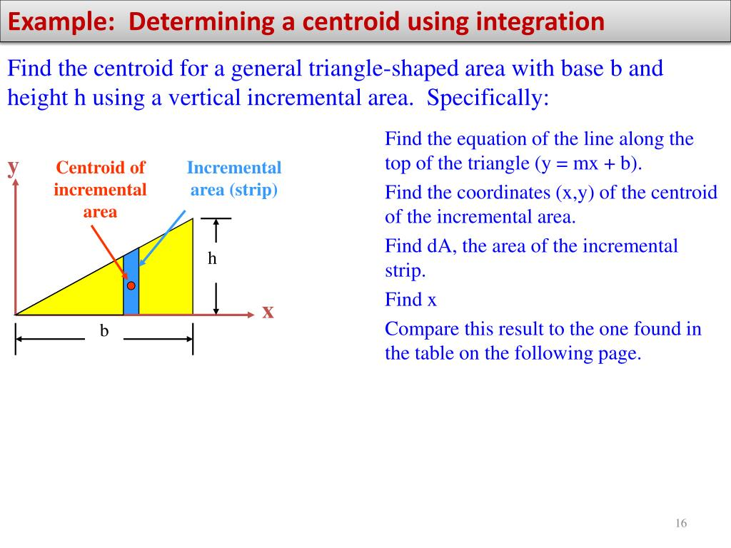 Example:  Determining a centroid using integration