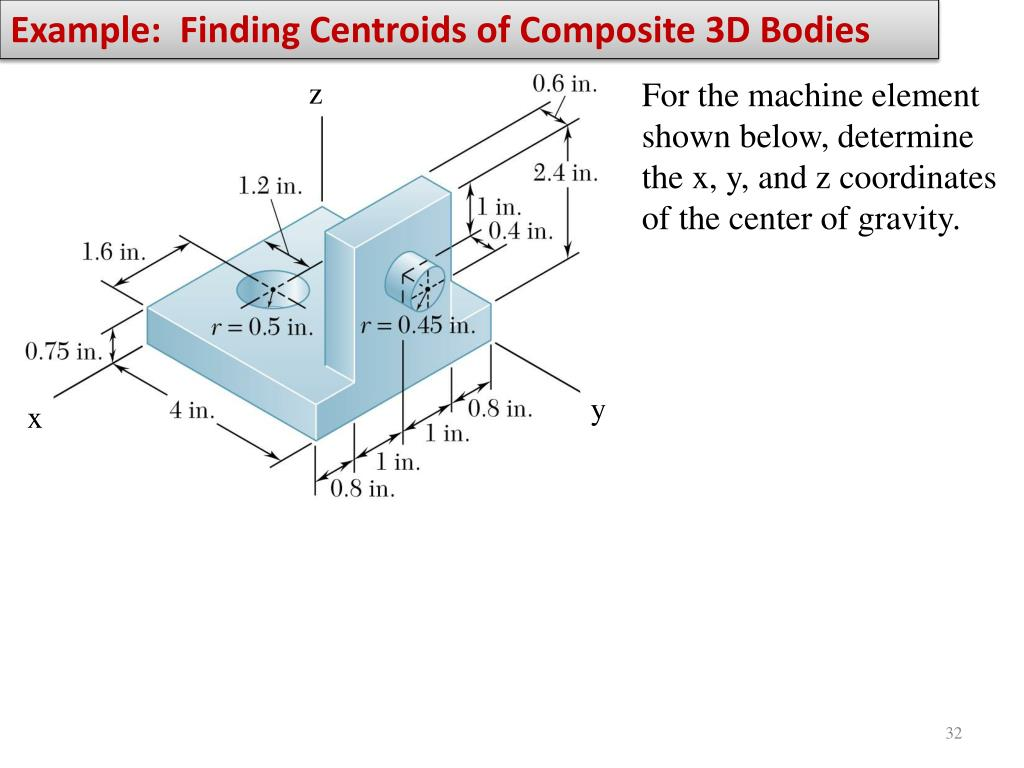 Example:  Finding Centroids of Composite 3D Bodies