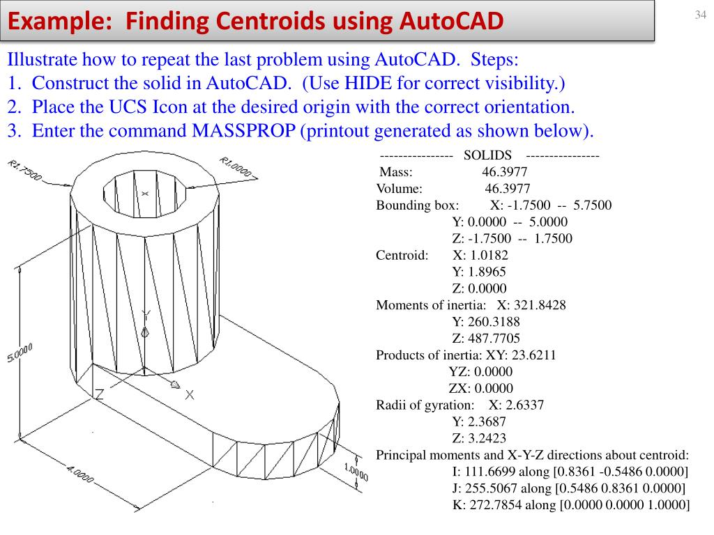 Example:  Finding Centroids using AutoCAD
