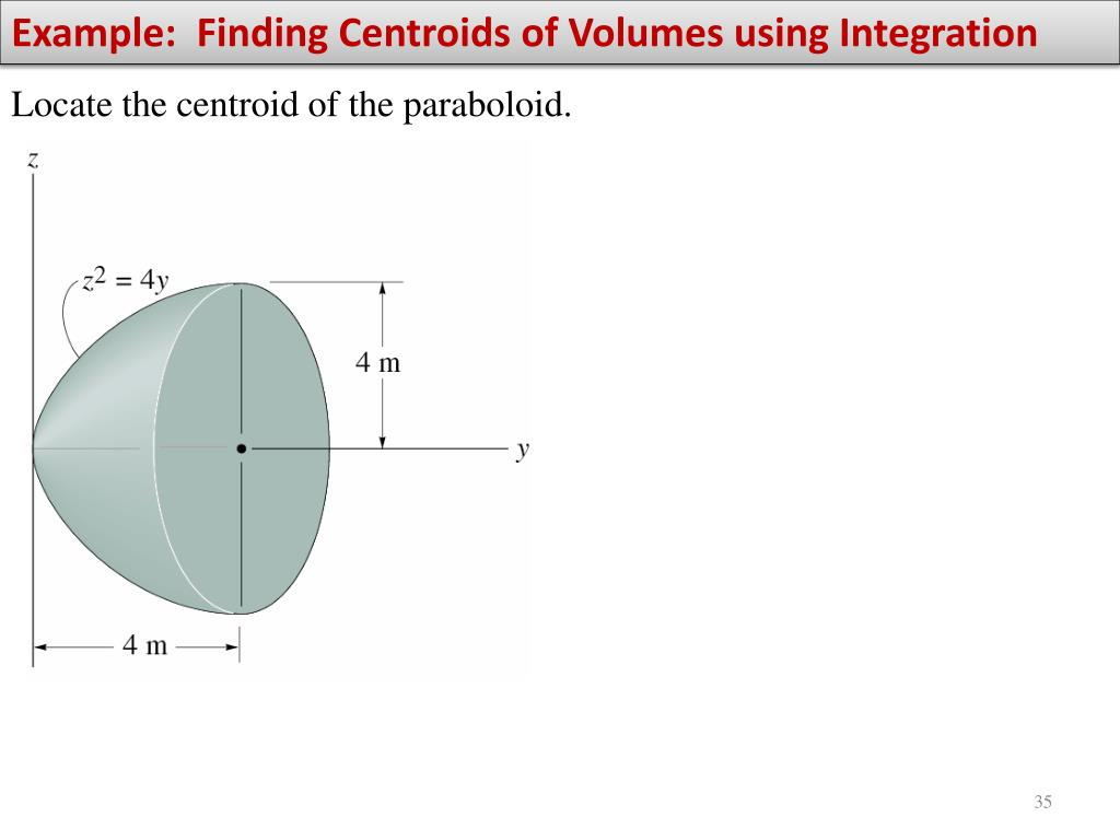 Example:  Finding Centroids of Volumes using Integration