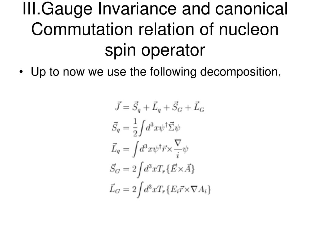 III.Gauge Invariance and canonical Commutation relation of nucleon spin operator