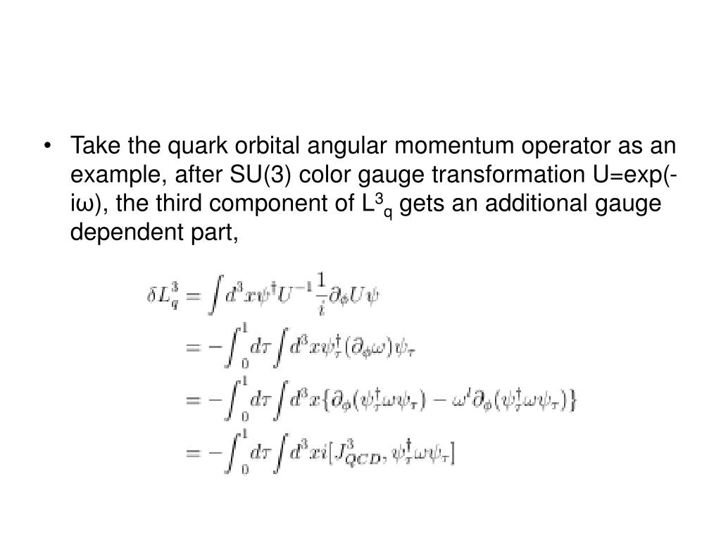 Take the quark orbital angular momentum operator as an example, after SU(3) color gauge transformation U=exp(-i