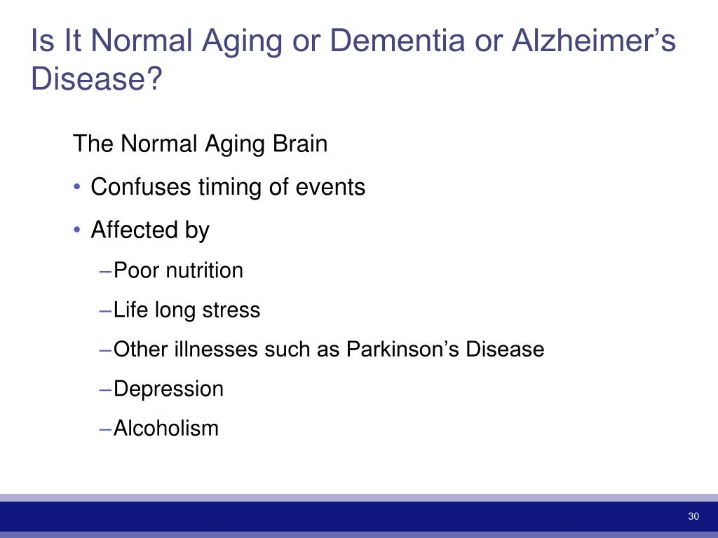 Is It Normal Aging or Dementia or Alzheimer's Disease?
