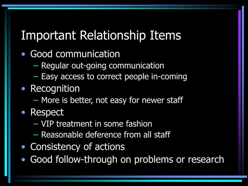 Important Relationship Items