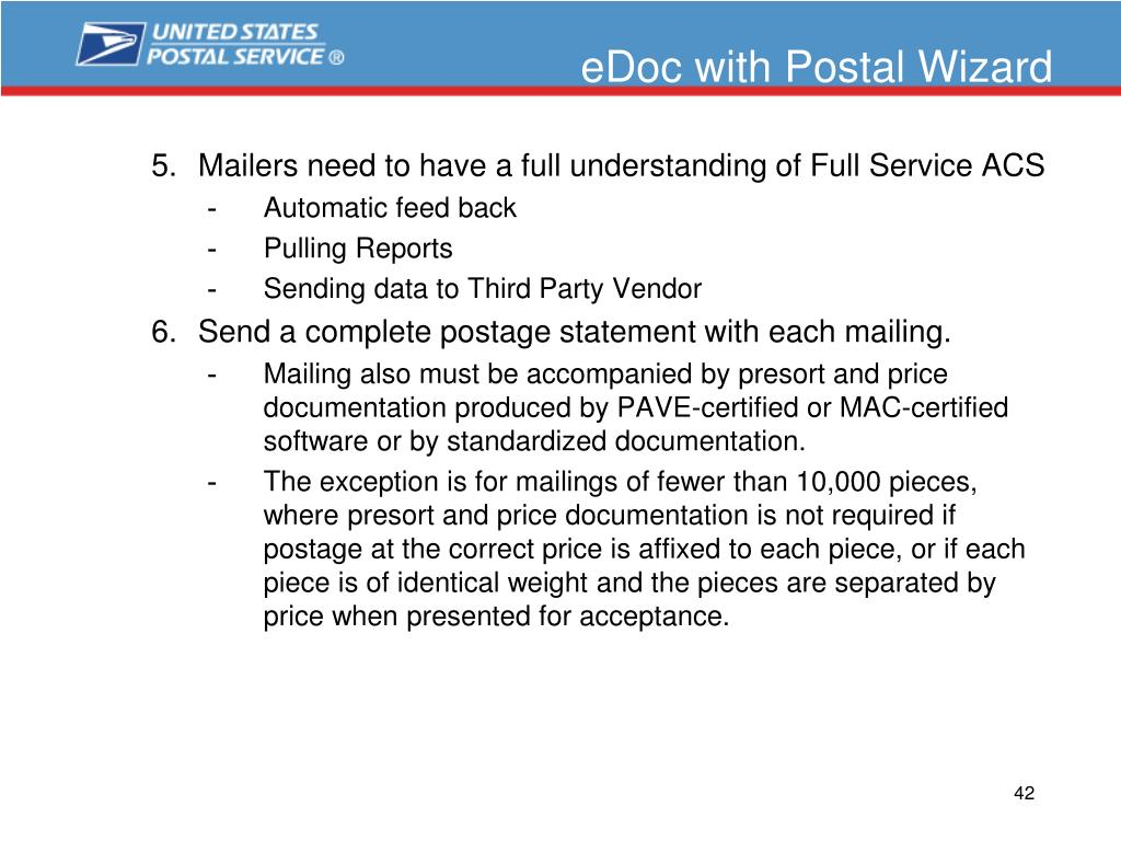 eDoc with Postal Wizard