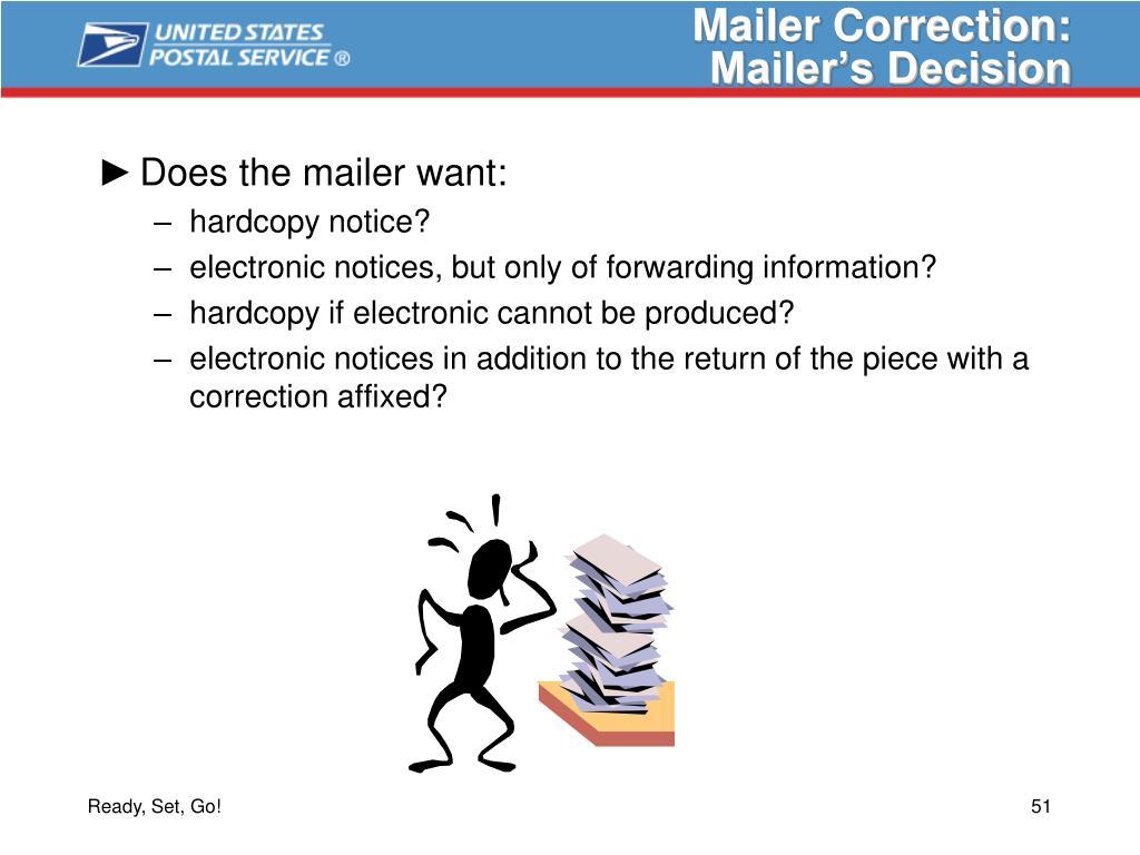 Mailer Correction: