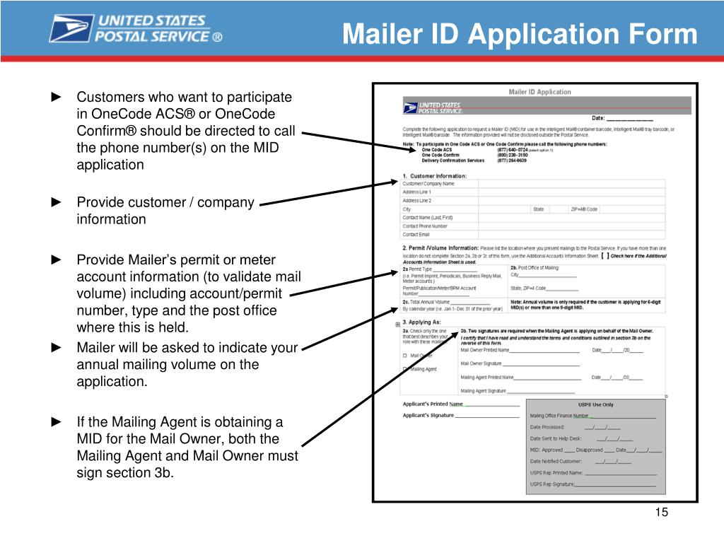 Mailer ID Application Form
