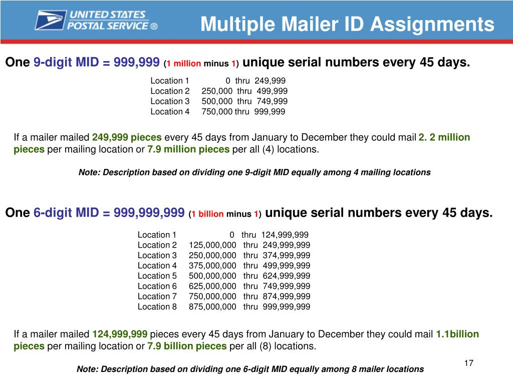 Multiple Mailer ID Assignments