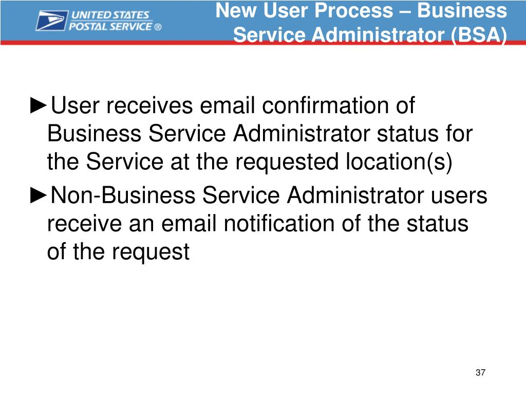 New User Process – Business Service Administrator (BSA)
