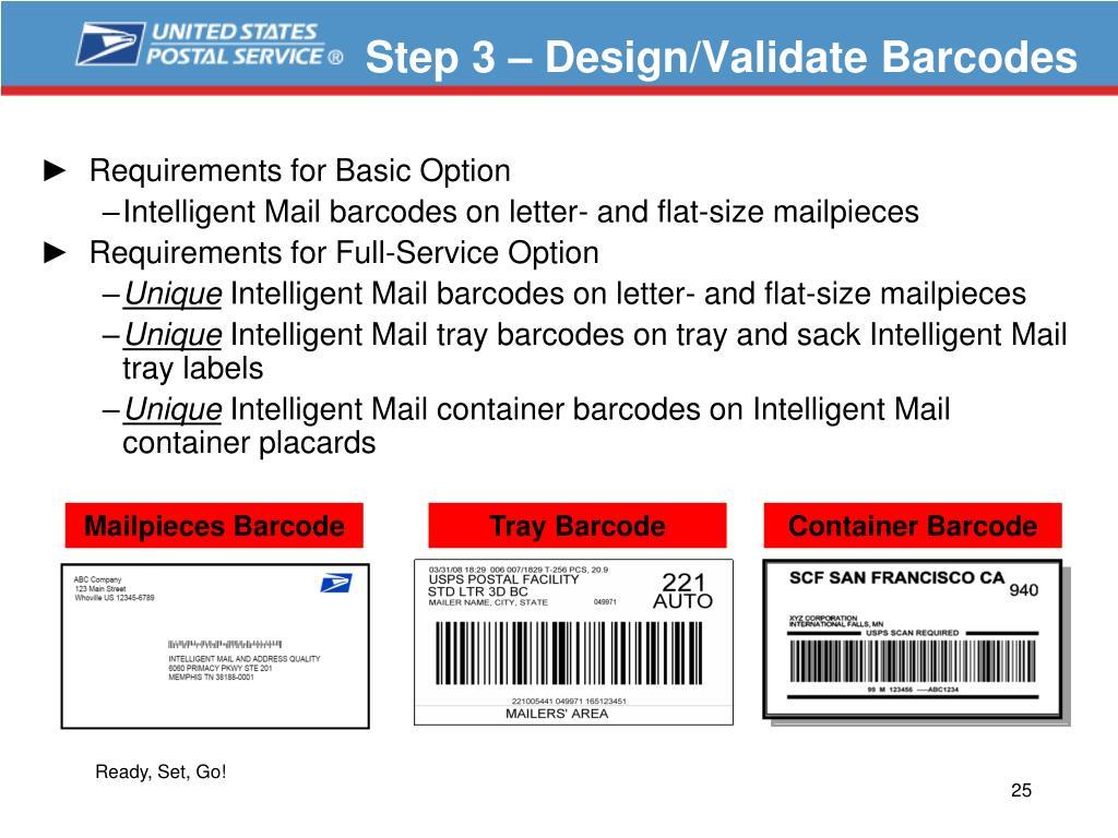 Step 3 – Design/Validate Barcodes