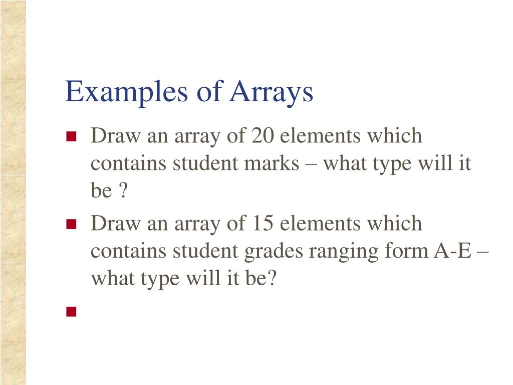 Examples of Arrays