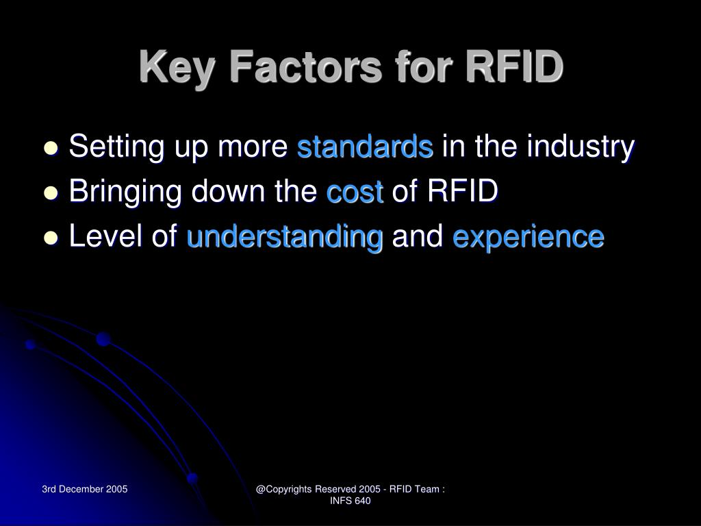 Key Factors for RFID