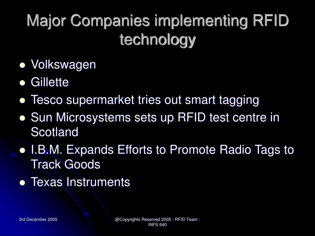 Major Companies implementing RFID technology