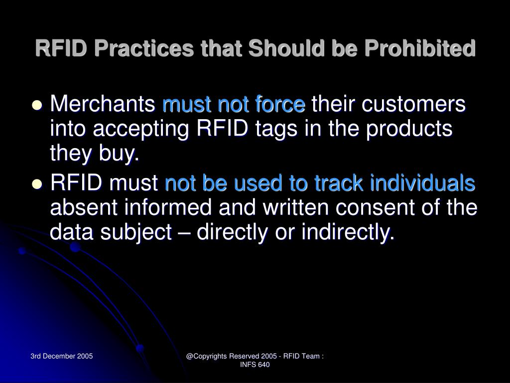 RFID Practices that Should be Prohibited