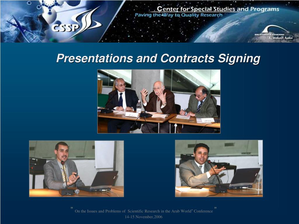 Presentations and Contracts Signing