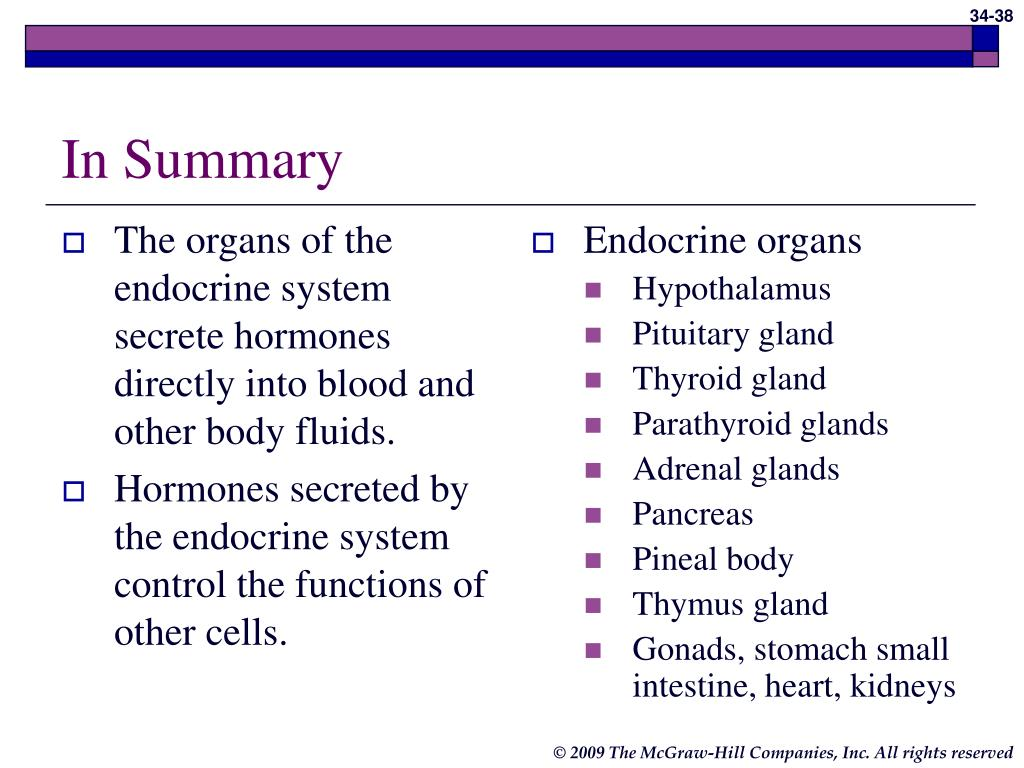 The organs of the endocrine system secrete hormones directly into blood and other body fluids.