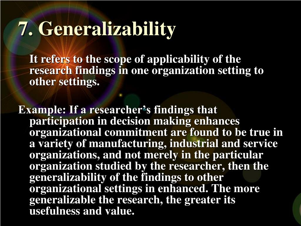 7. Generalizability