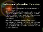 preliminary information gathering