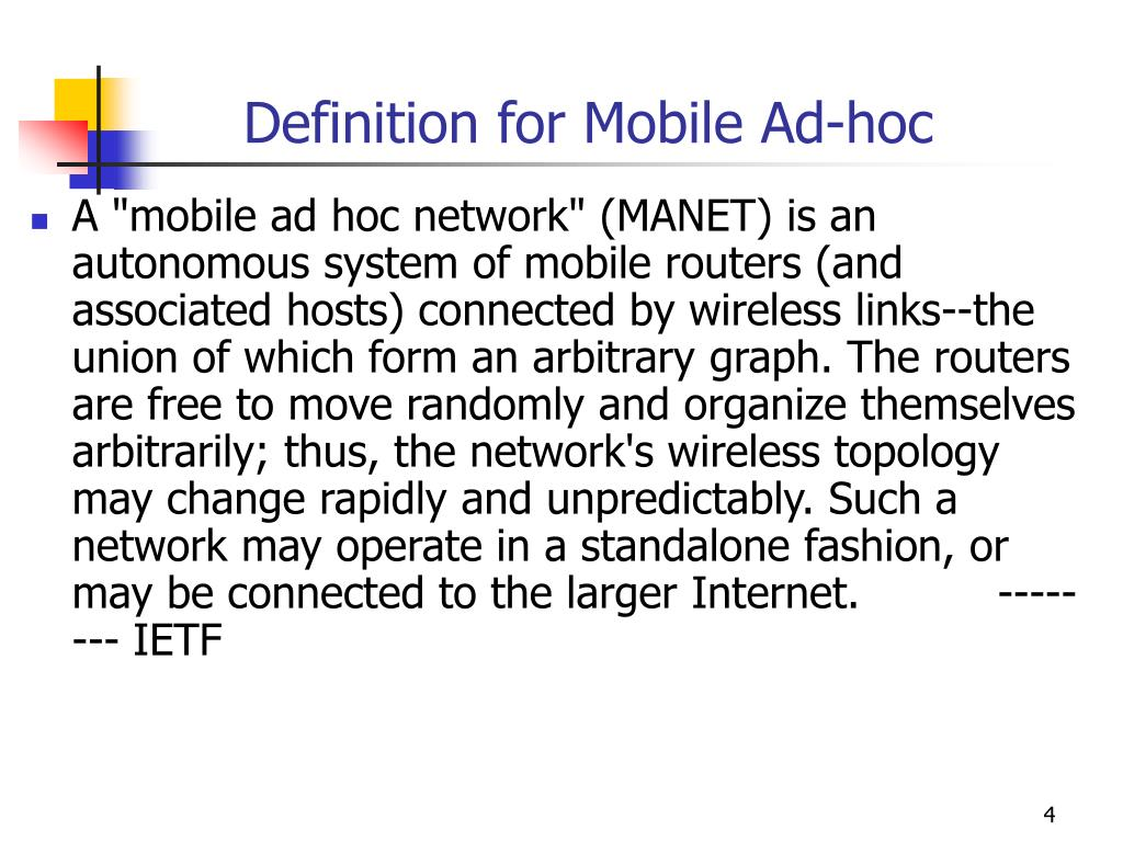 Definition for Mobile Ad-hoc