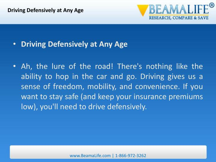 Driving Defensively at Any Age