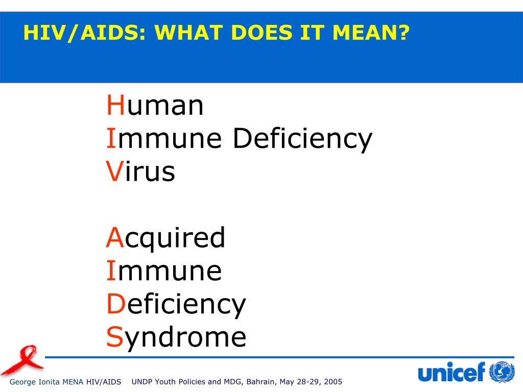 HIV/AIDS: WHAT DOES IT MEAN?