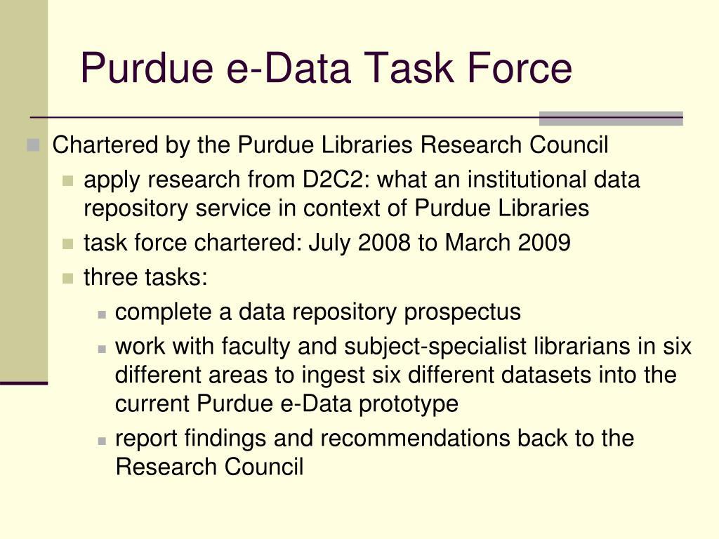 Purdue e-Data Task Force
