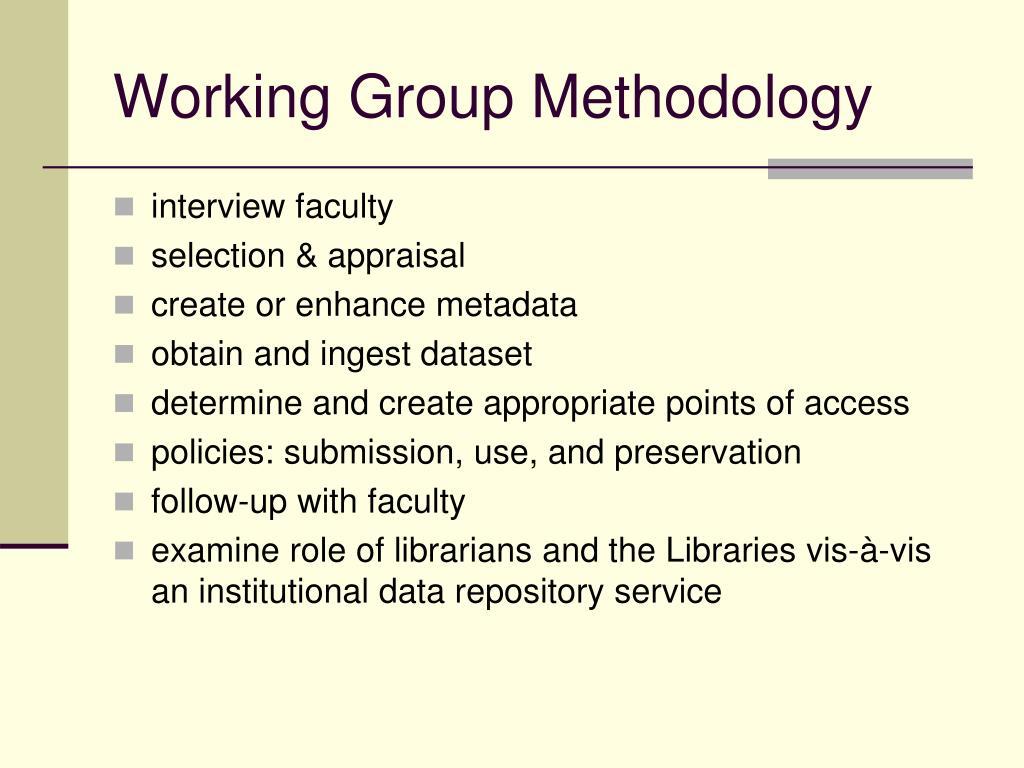 Working Group Methodology