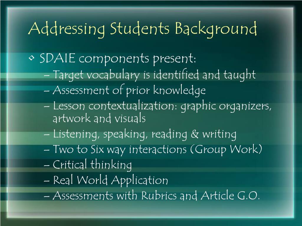 Addressing Students Background