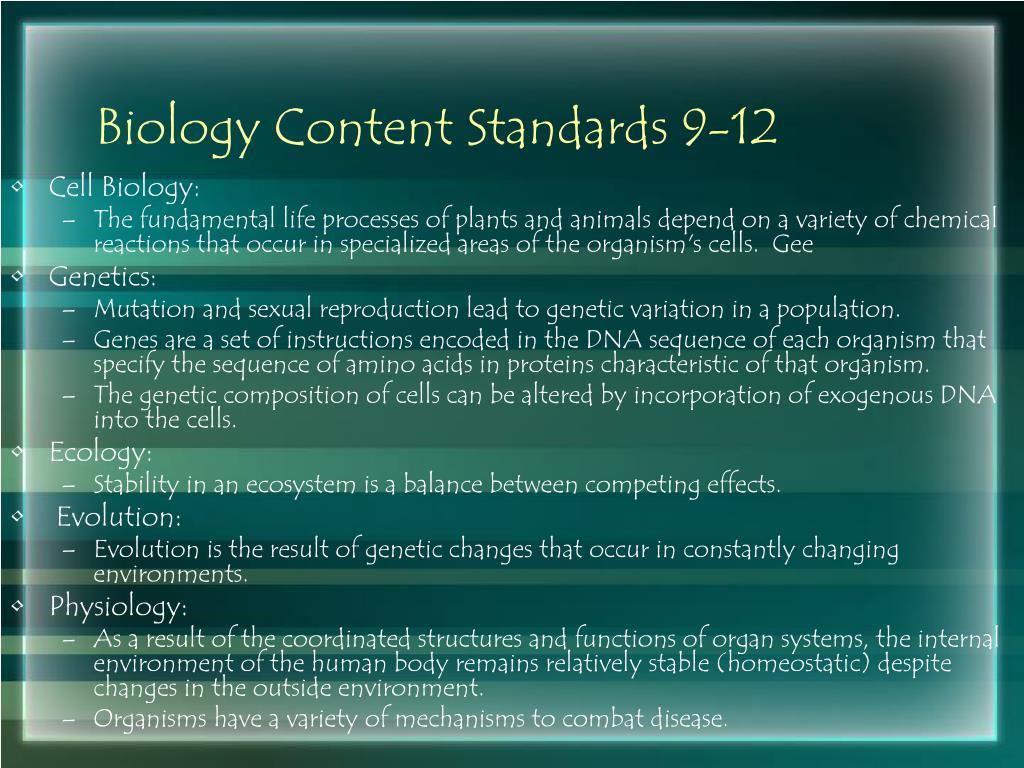 Biology Content Standards 9-12